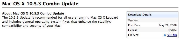 Mac OS X 10.5.3 Combo Update