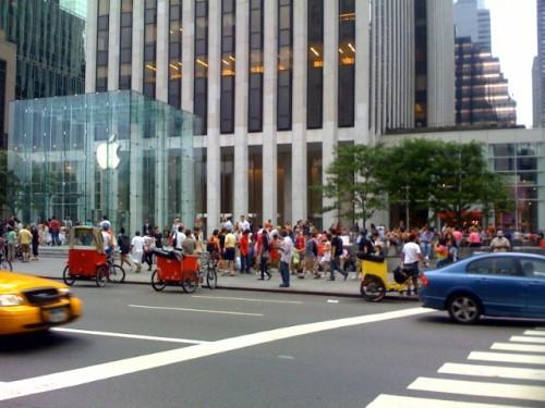 Filas en Apple Store New York