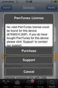 instrucciones de PwnTunes en el iPhone