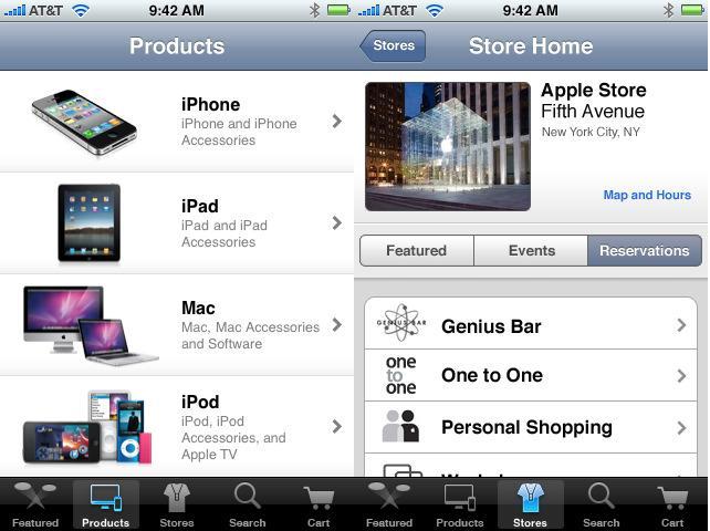 Aplicación de la apple store