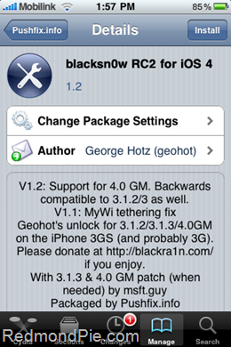 iPhone 3GS con iOS 4 desbloqueado con BlackSnow