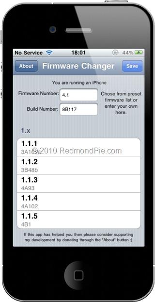 Cambiar el firmware del iPhone sin actualizar