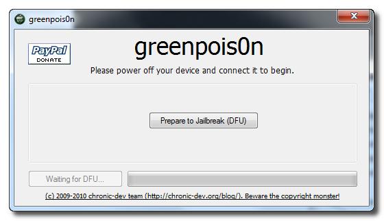 jailbreak iOS 4.2.1 using GreenPois0n for Windows
