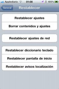 reset ajustes de red iPhone