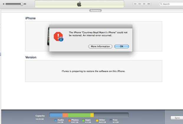 Problemas al actualizar iOS 5 error 3200 y 3194 Itunes iPad