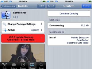 Jailbreak semi-atado de iOS 5
