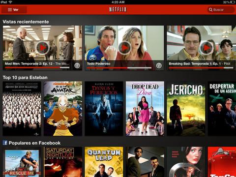 Aplicación de Netflix para iPad