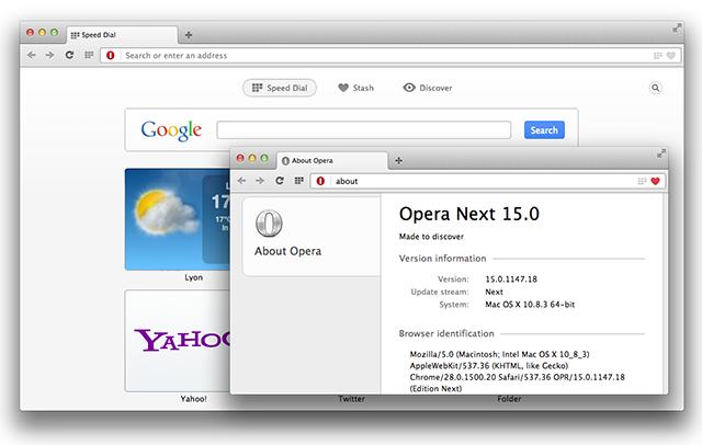 Opera Next para 15 Mac