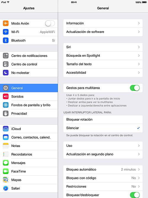 Ajustes del iPad