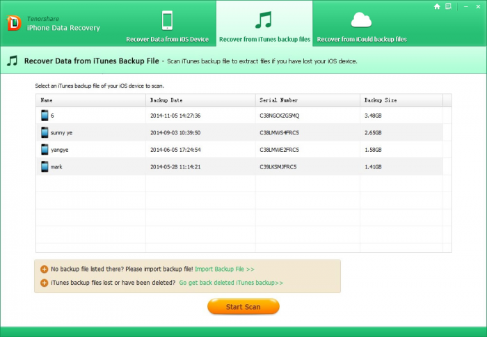 scan itunes backup for lost messages