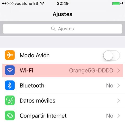 Ajustes Wi-Fi iOS