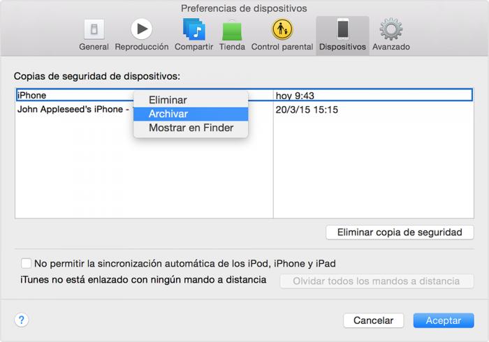 copia de seguridad del iPhone