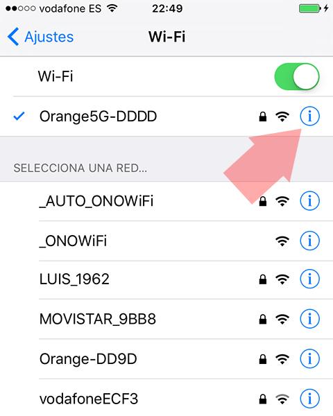 Informacion Wi-Fi iOS