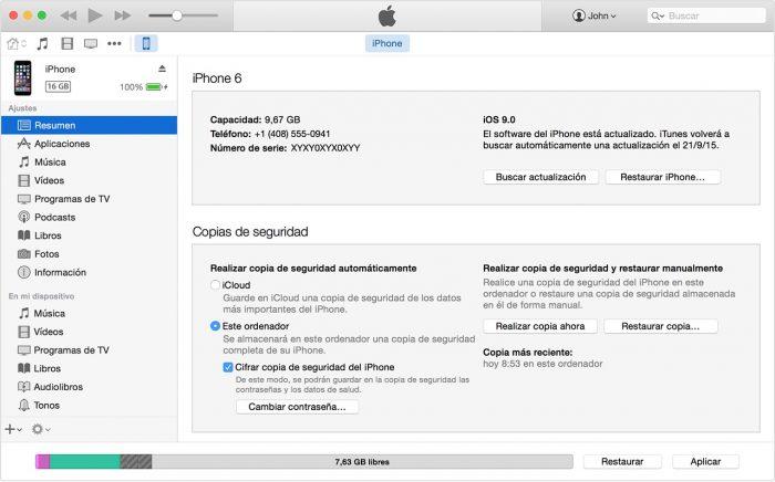 Copia de seguridad iOS