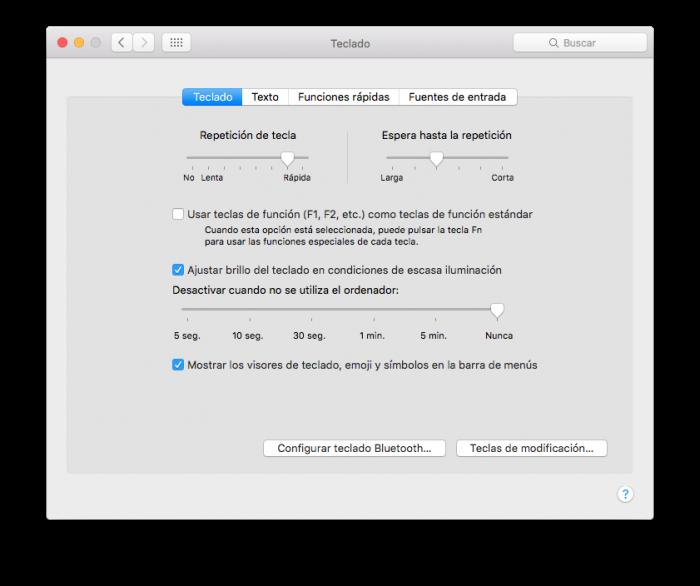 Ajustes teclado macOS