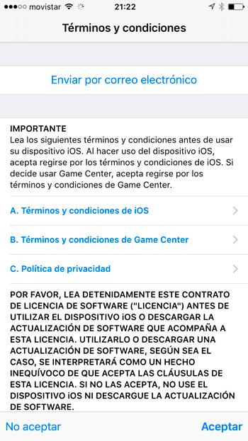 Condiciones iOS 10