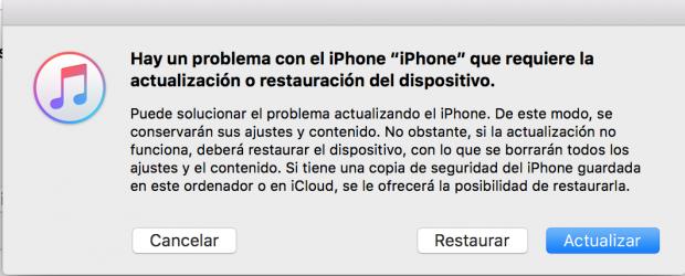 Fallo iOS 10
