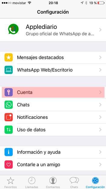 Configuración Whatsapp iOS
