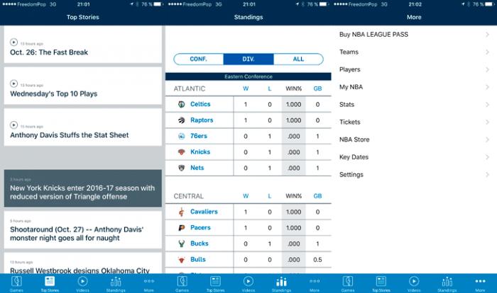 NBA iOS App Menu