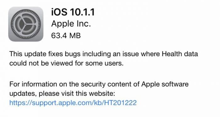 iOS 10.1.1-update