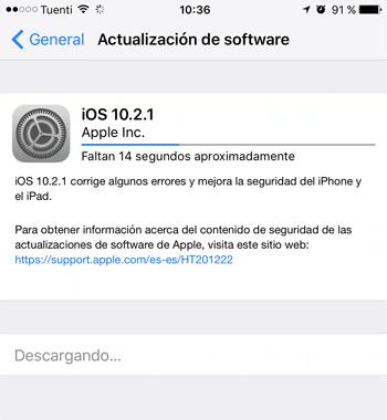 Actualizando iOS 10.2.1