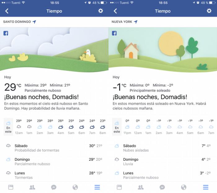 Clima en Facebook