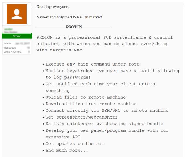 OSX.Proton.A macOS RAT malware