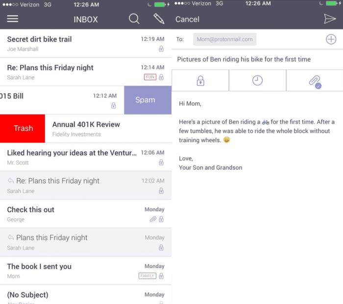 Mensajes en ProtonMail
