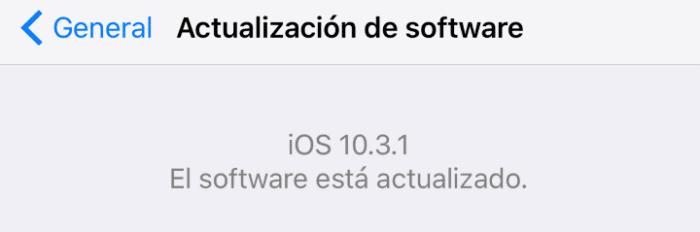 actualizacion software iOS 10.3.1