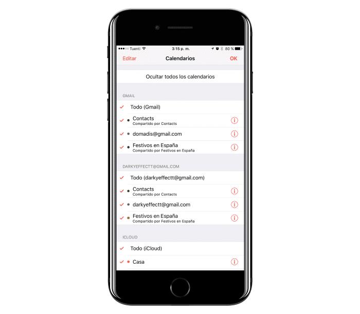 calendario iOS
