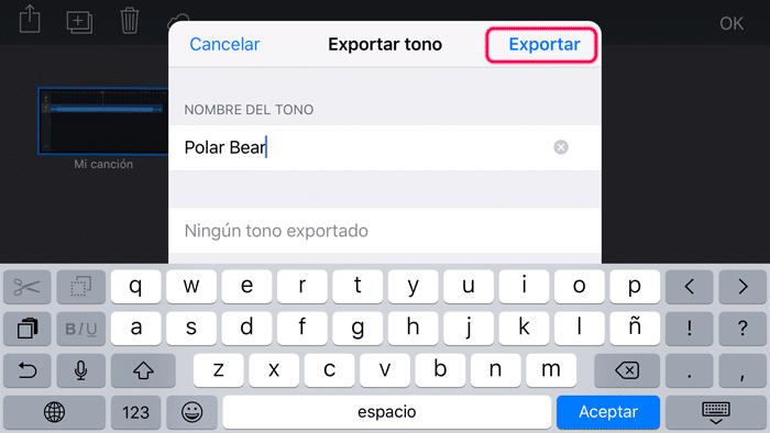exportar tono