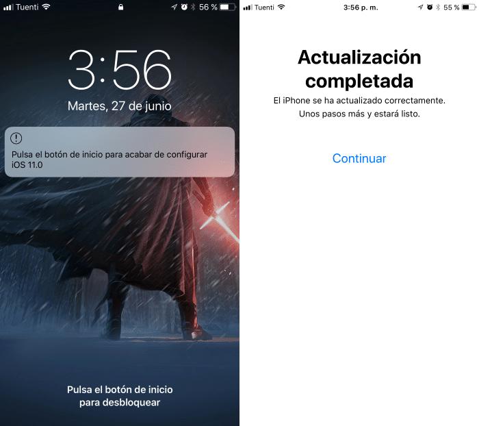 instalacion iOS 11 completa