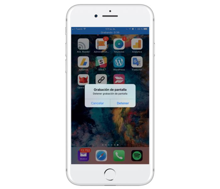 grabar pantalla iphone