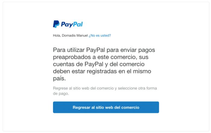 Error iTunes PayPal
