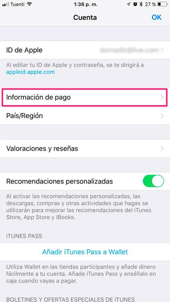 informacion pago