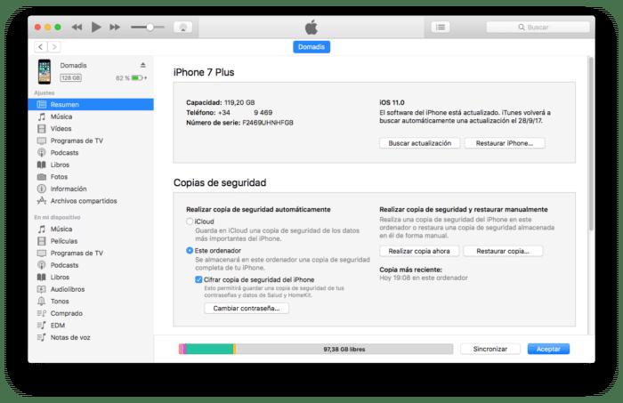 iOS 11 en iTunes