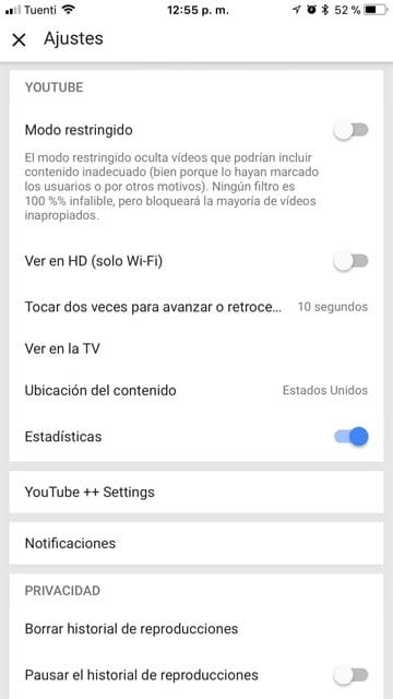 Ajustes YouTube++