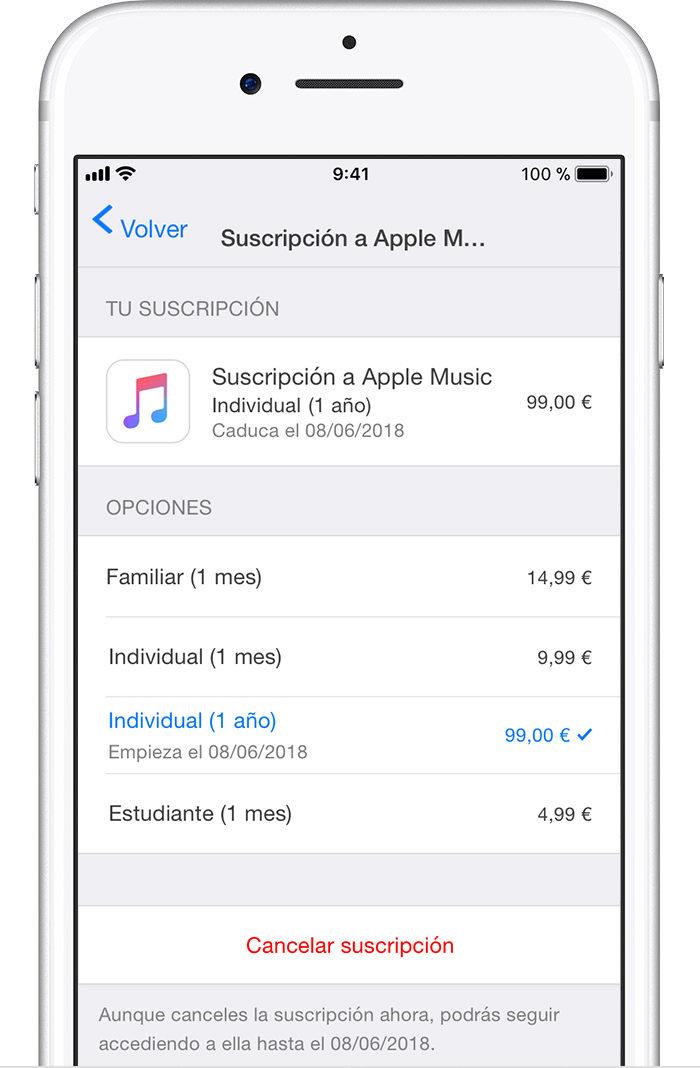 cancelar suscripciones iOS