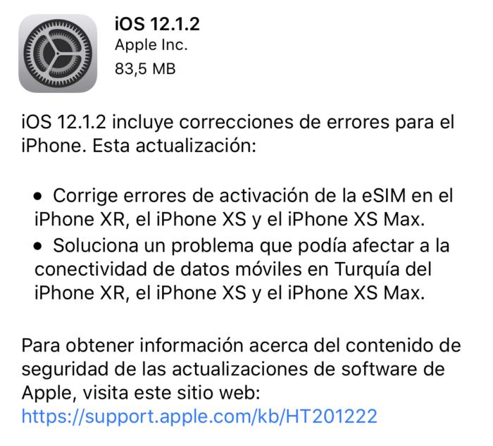 Actualizacion iOS 12.1.2