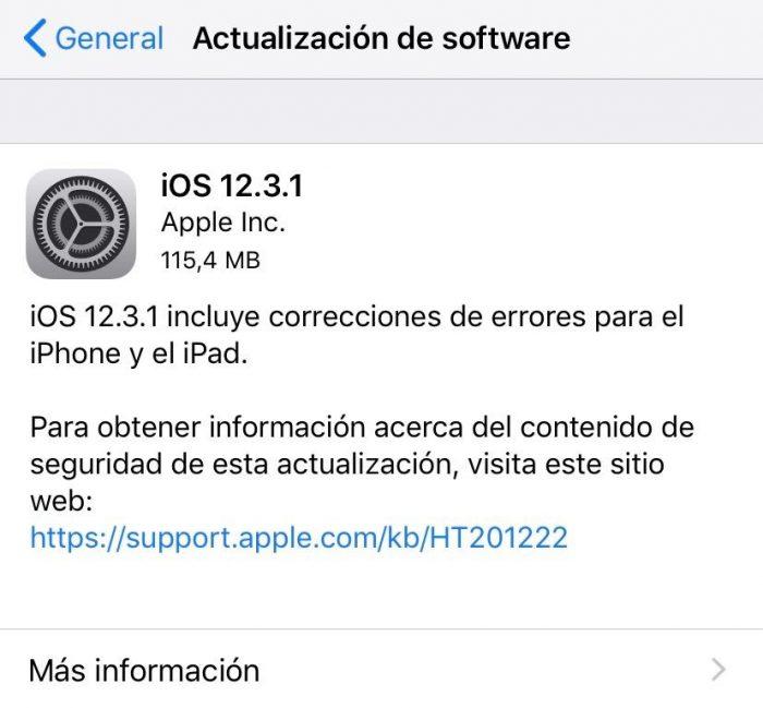 Actualizacion iOS 12.3.1