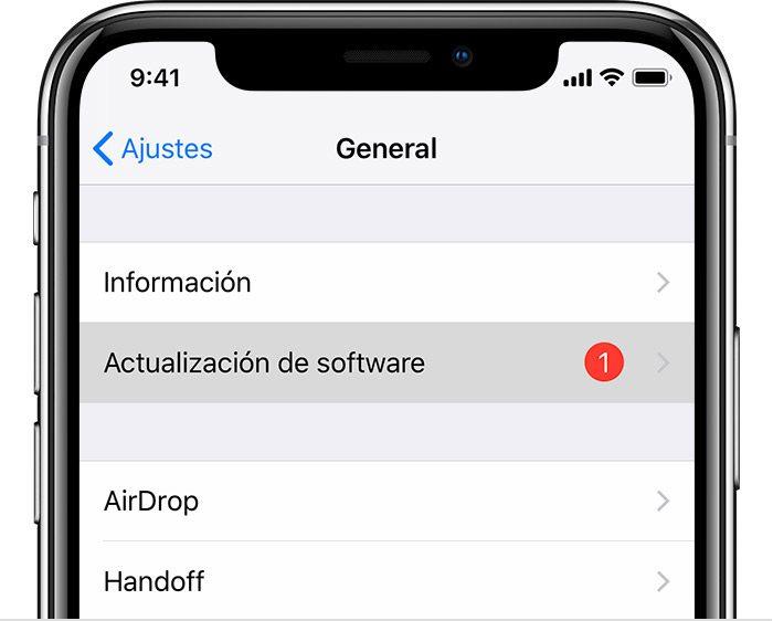 Actualizacion de software iPhone