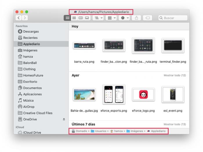 macOS con barra ruta