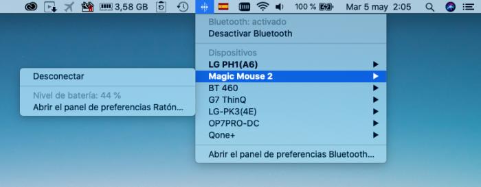 Porcentaje bateria bluetooth