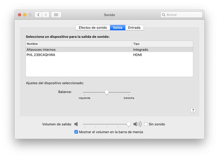 Ajustes de sonido macOS