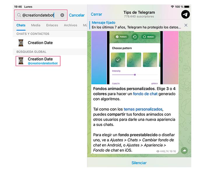 Telegram creationdatebot